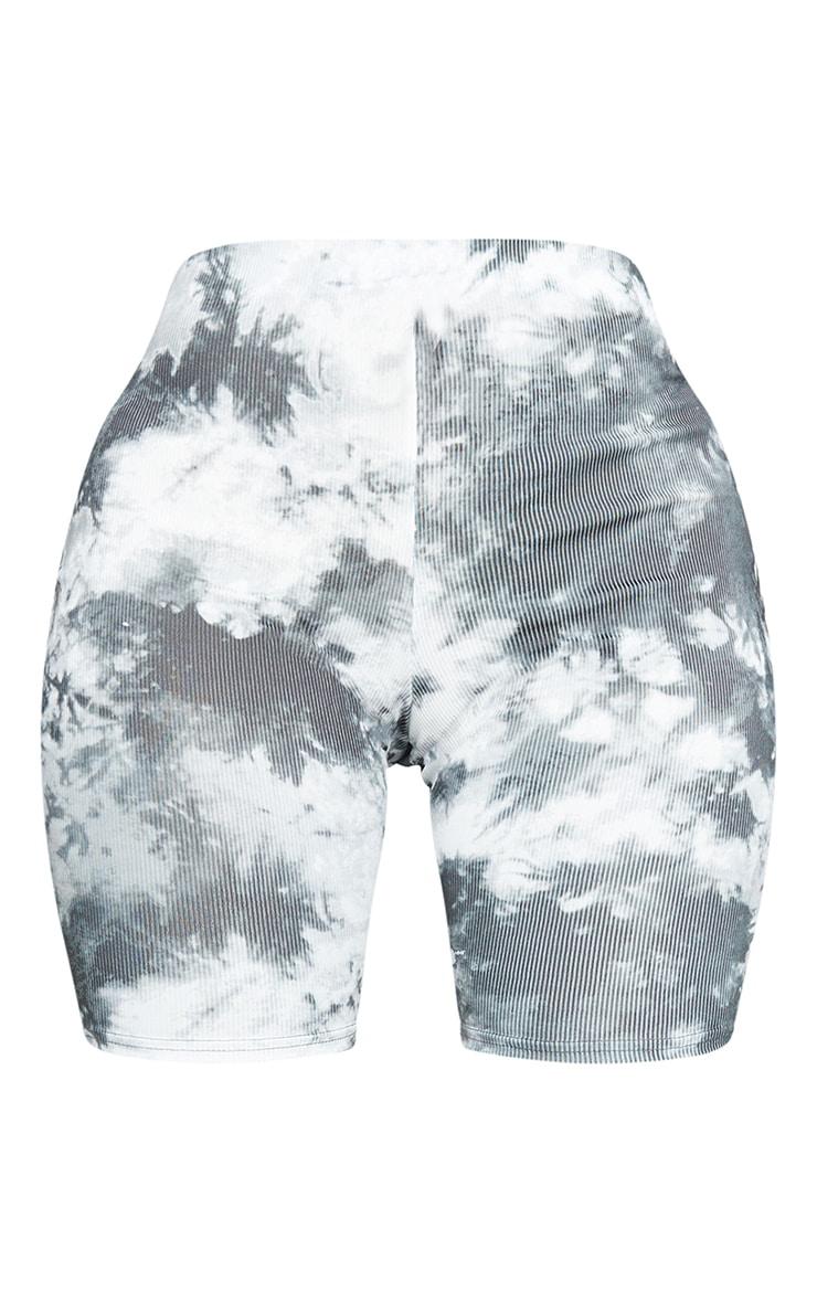 Shape - Short-legging côtelé noir imprimé tie & dye 6