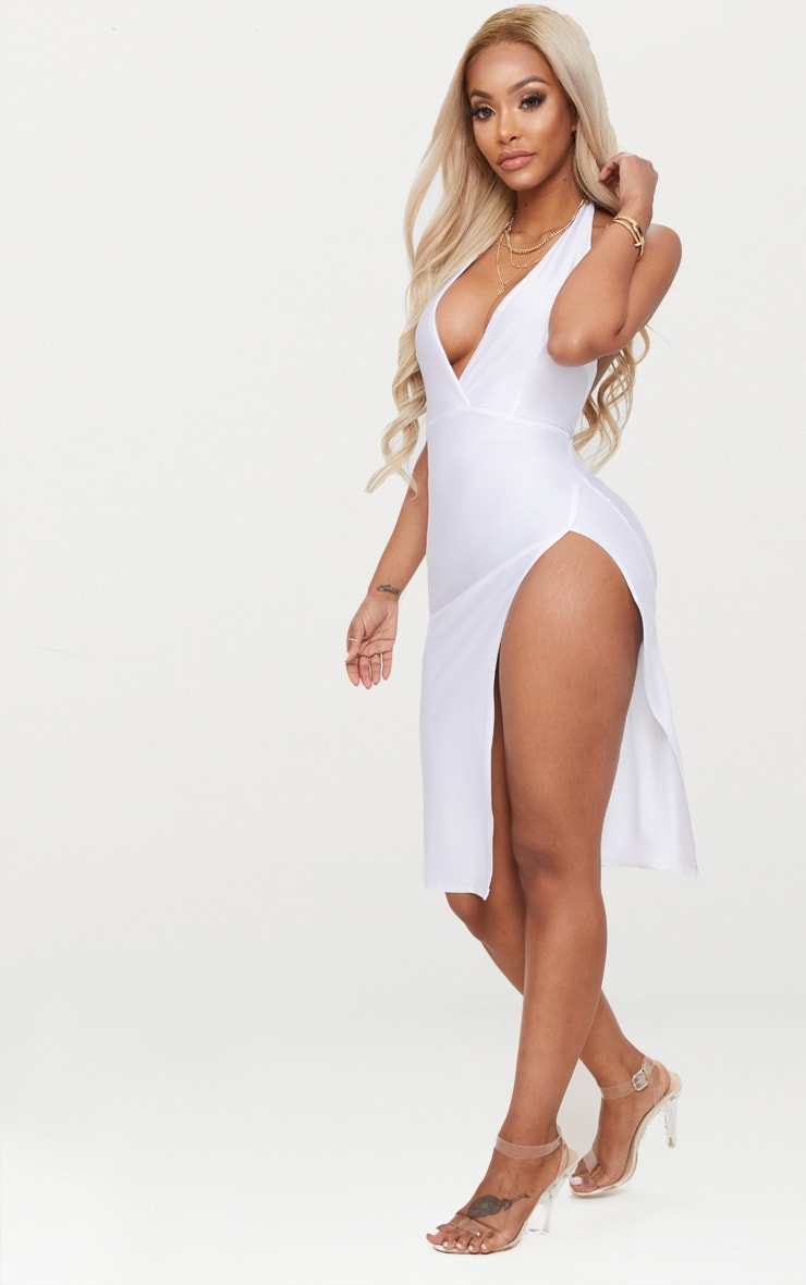 White Shape Disco Slinky Halterneck Midi Dress 3