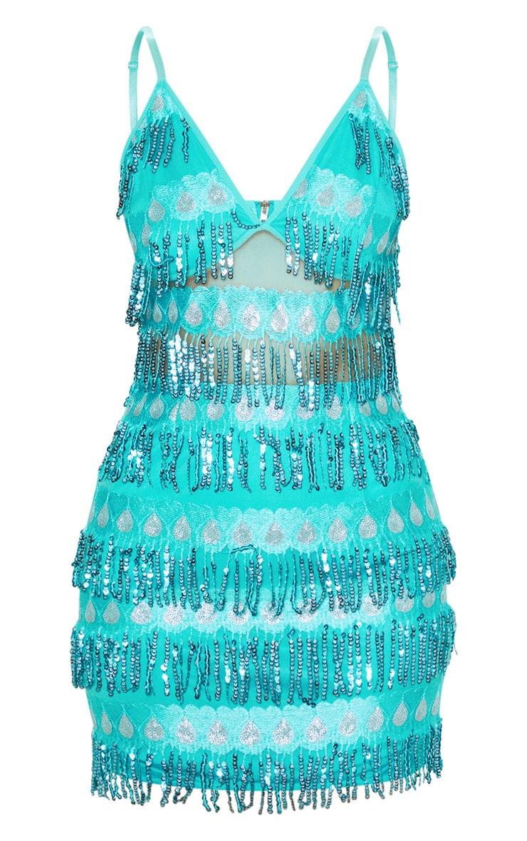 Turquoise  Strappy Sheer Panel Sequin Bodycon Dress 3