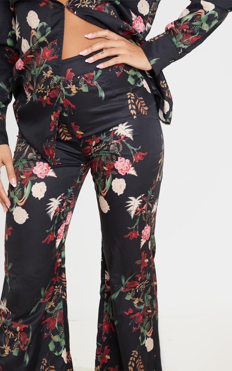 Black Floral Oriental Wide Leg Pants 5