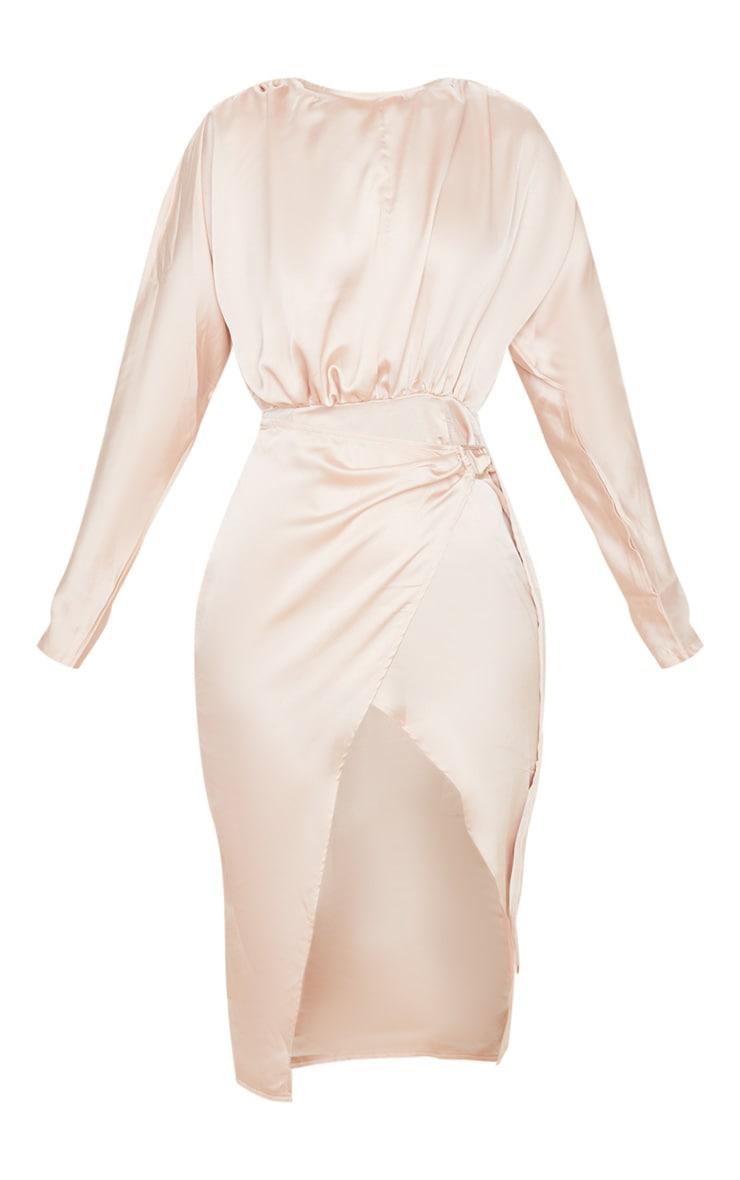 Champagne Satin Wrap Skirt Backless Midi Dress 3