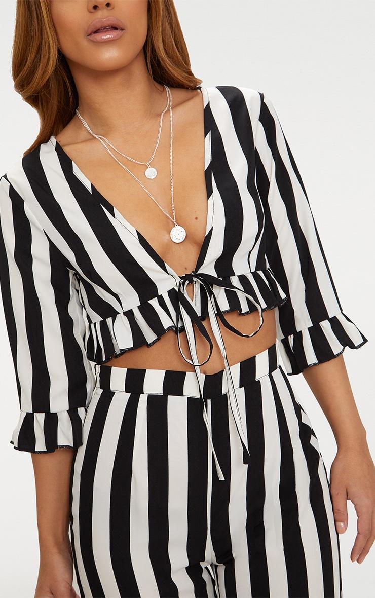 Petite Black Monochrome Stripe Tie Front Blouse 5