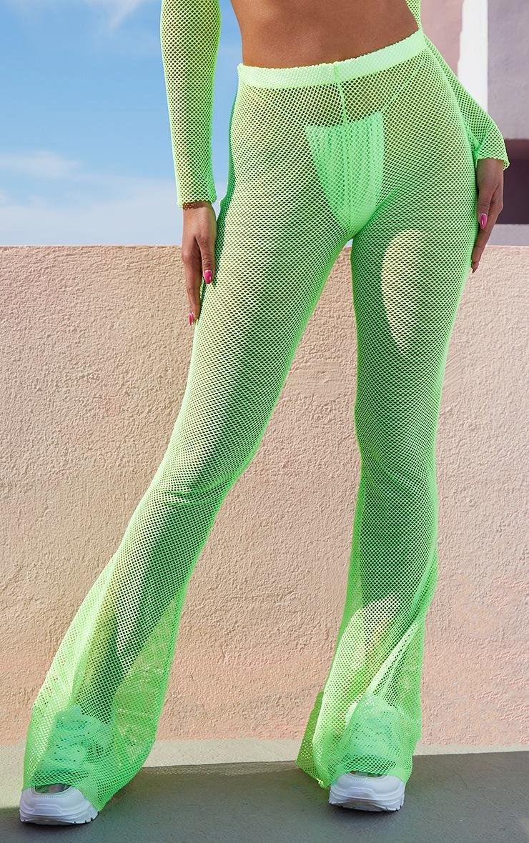Neon Lime Fishnet Flares 2