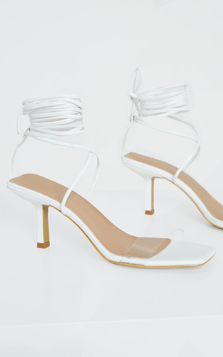 White Low Heel Clear Strap Ankle Tie Sandal 4