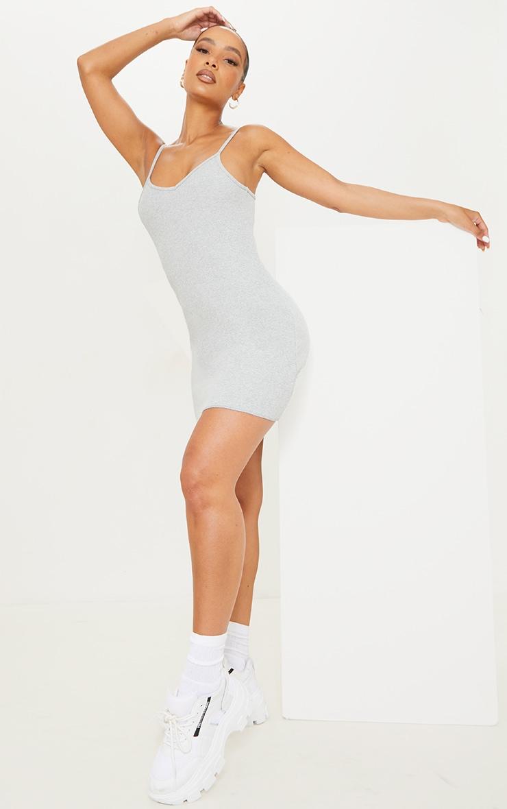 Grey Rib Frill Edge Strappy Mini Bodycon Dress 3