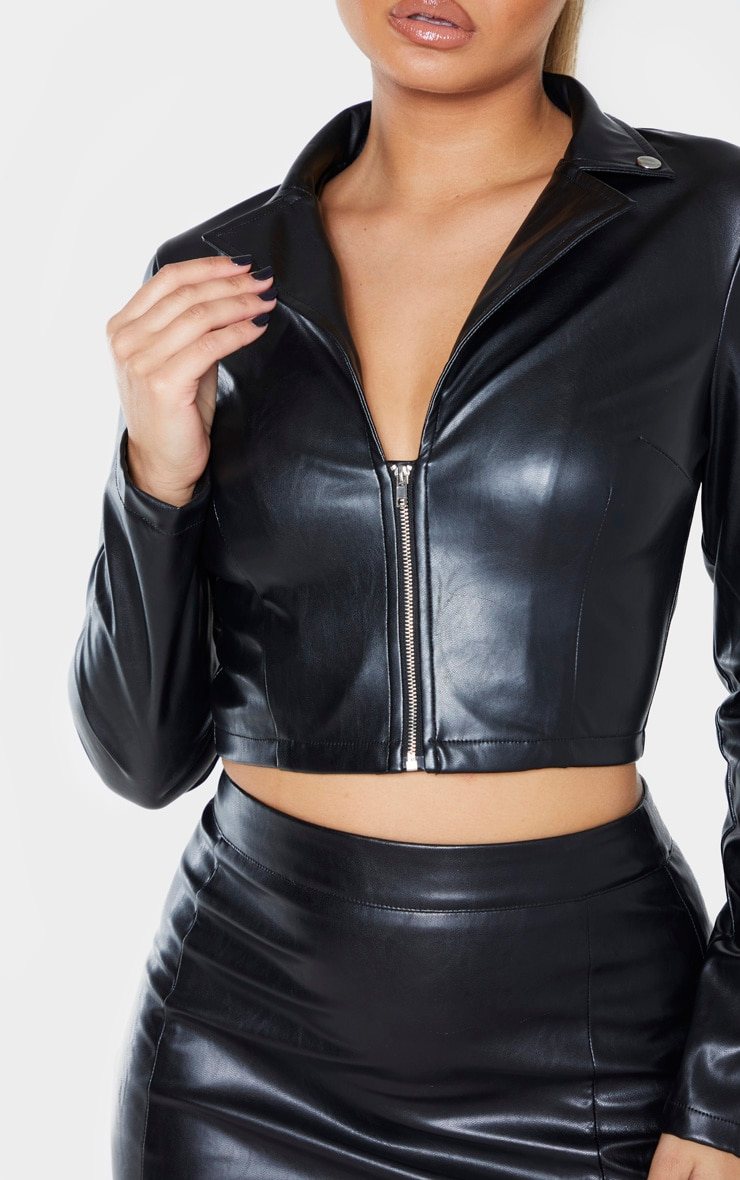 Chemise en similicuir noire à zip frontal et manches longues 4