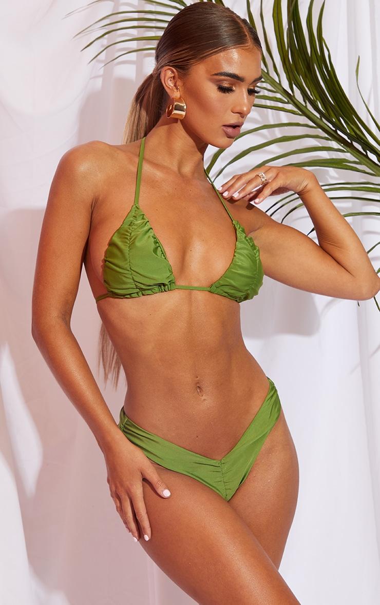 Olive Ruched Front & Back Bikini Bottom 1