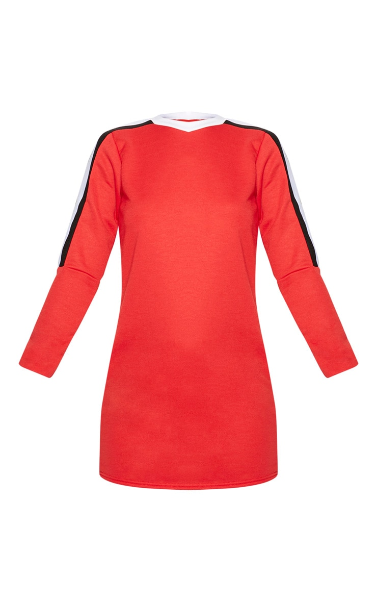Red Sport Stripe Long Sleeve Jumper Dress 3