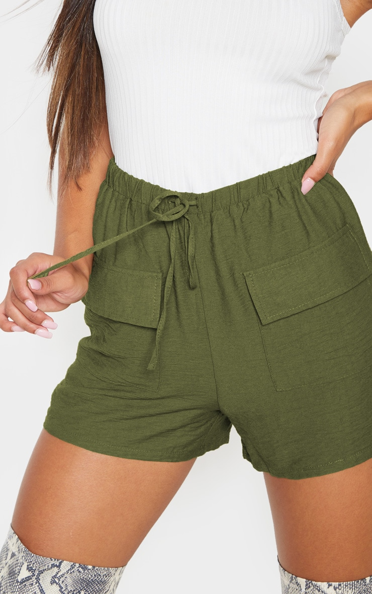 Khaki Woven Pocket Front Drawstring Short 6