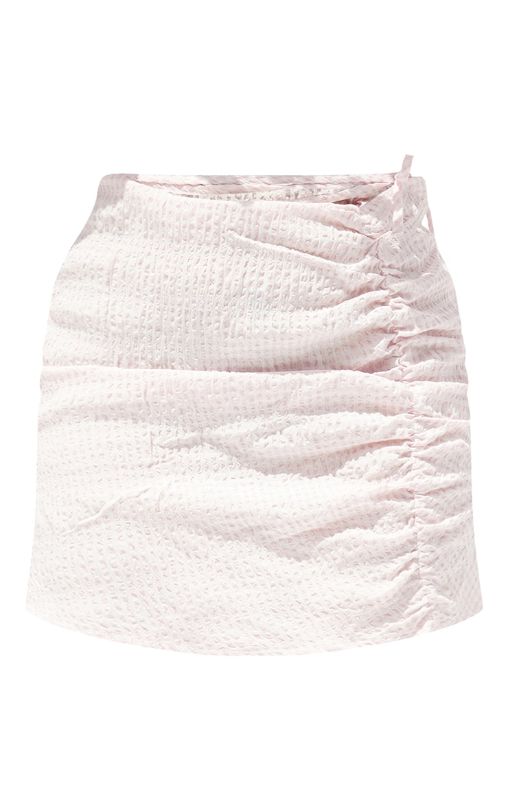 Petite Pink Gingham Ruched  Mini Skirt 6