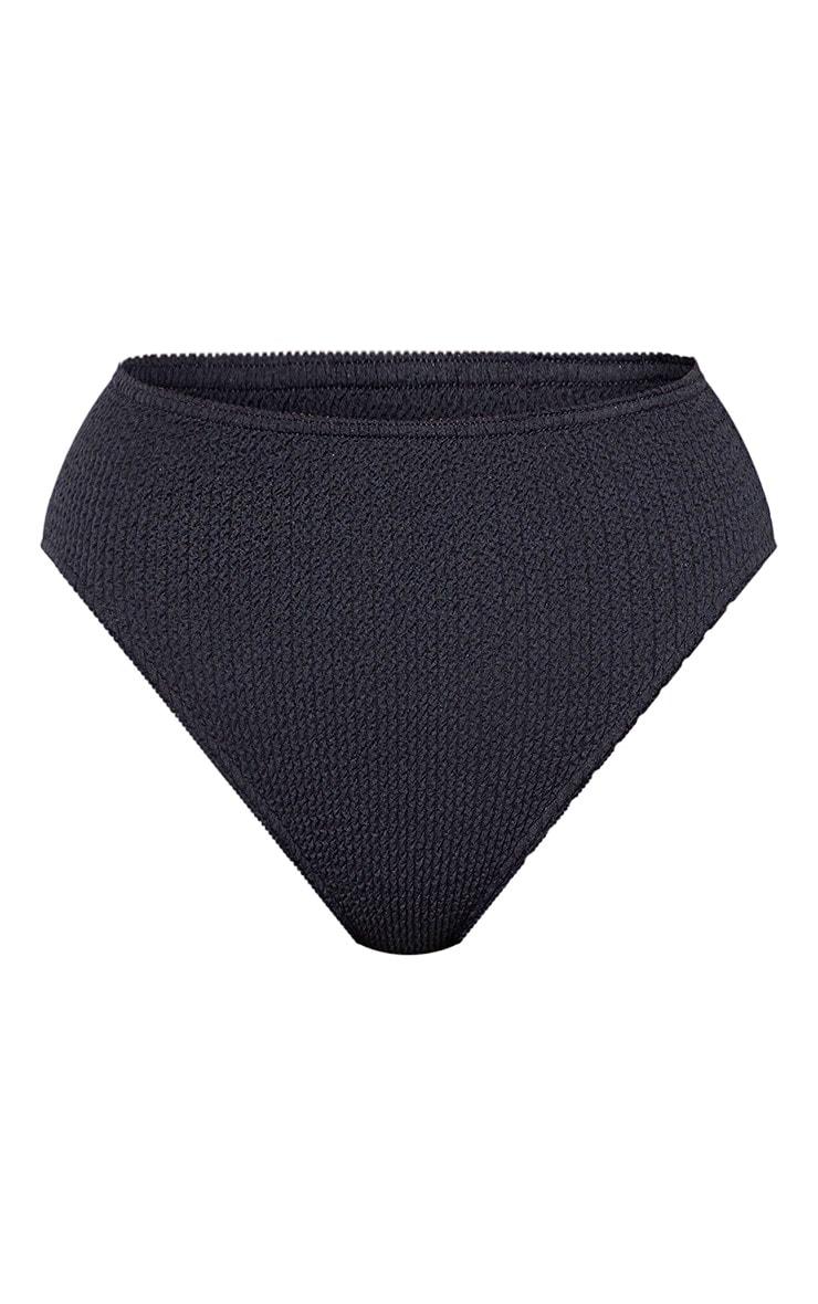 Bas de bikini noir froncé à taille haute 3