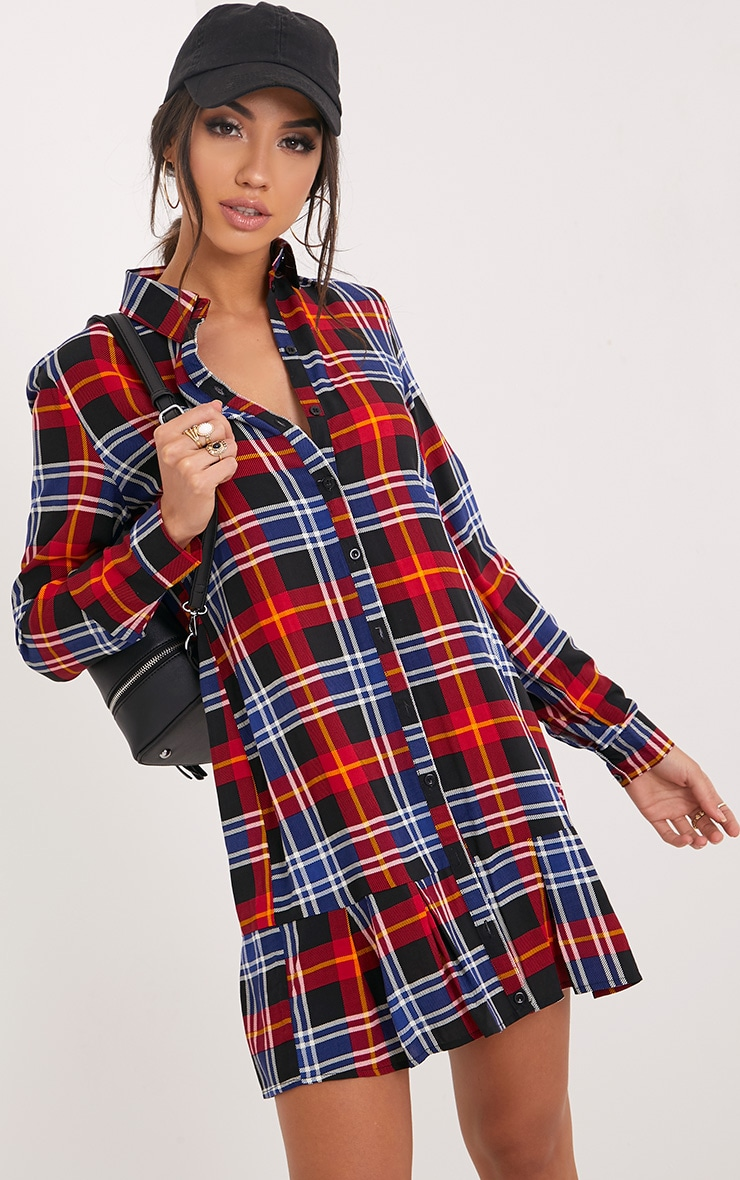 Liana Red Checked Shirt Dress 4