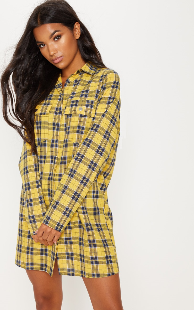Mustard Oversized Check Shirt Dress 4
