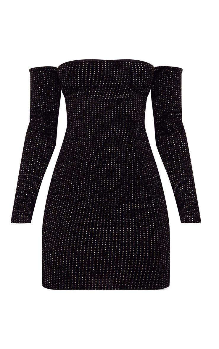 Black Velvet Back Strap Detail Bardot Bodycon Dress 3