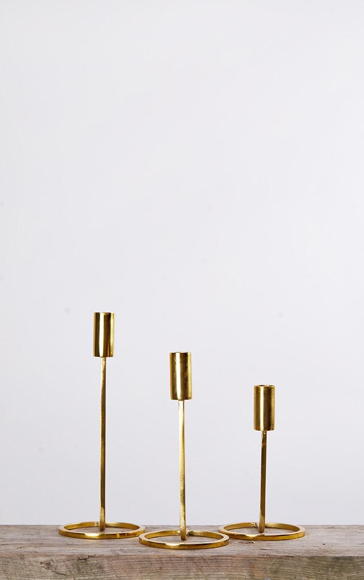 Gold Set Of 3 Candlestick Holder 4