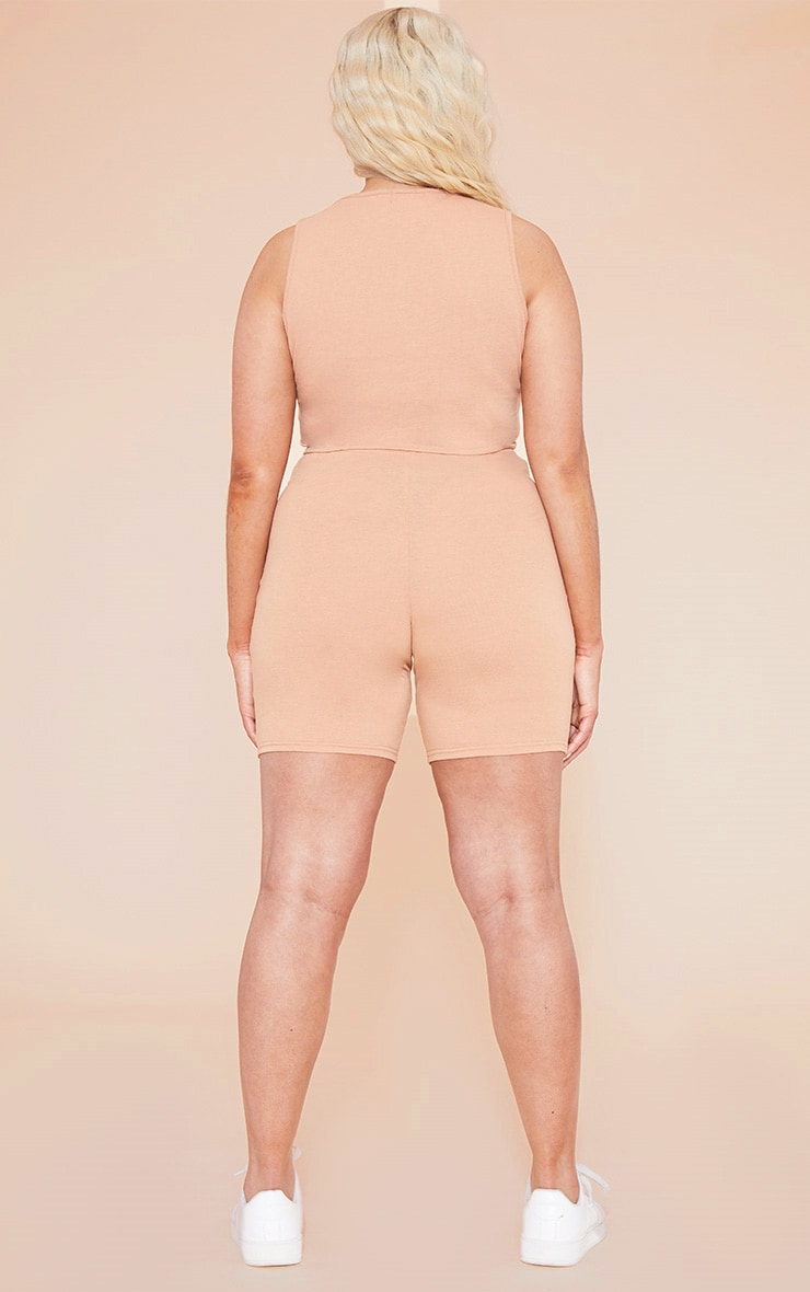 RECYCLED Plus Pale Tan Square Neck Crop Top 5