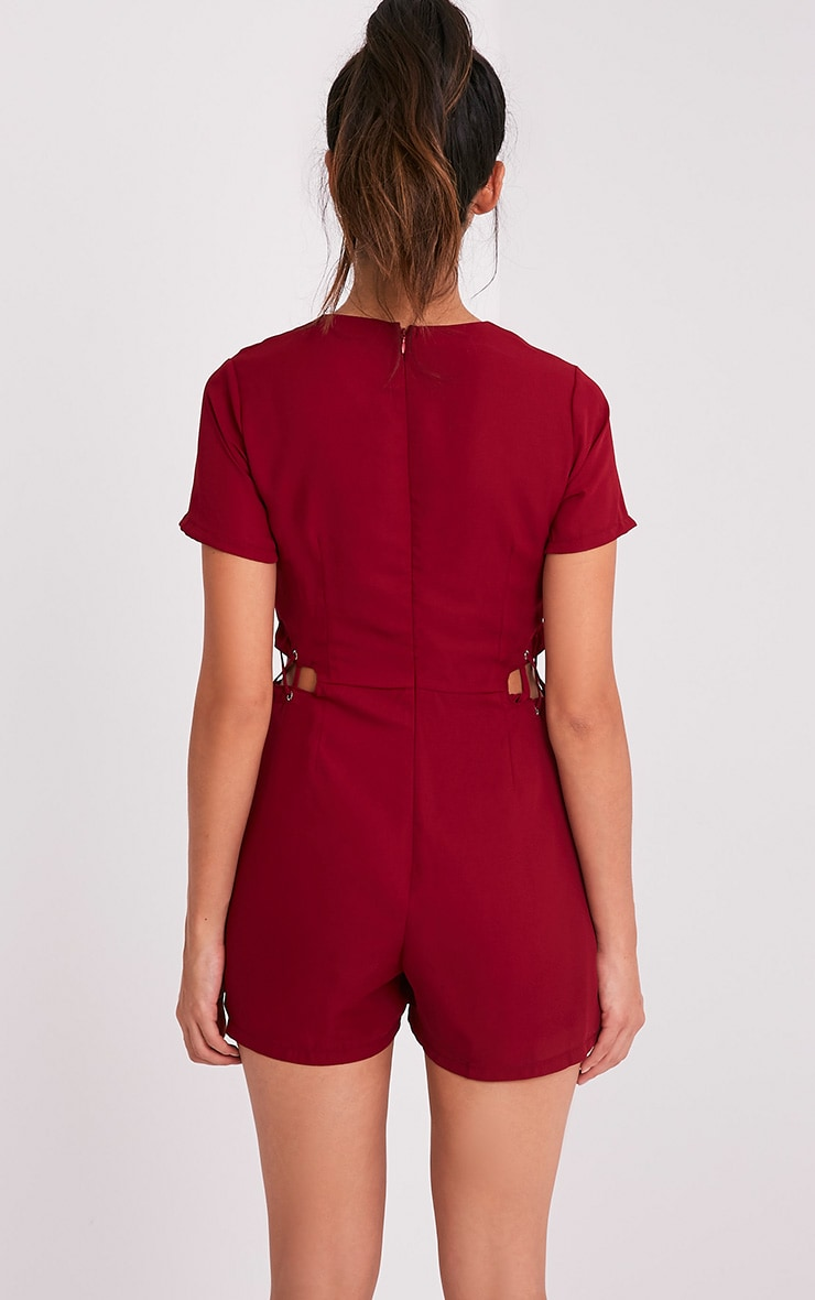 Sophi Burgundy Strappy Detail Playsuit 2