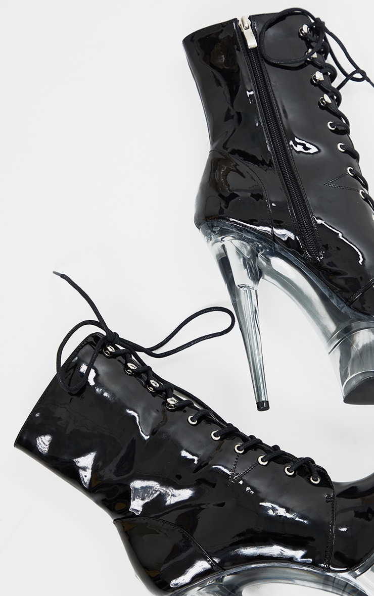 Black Patent Lace Up Extreme Platform Heeled Boot 4