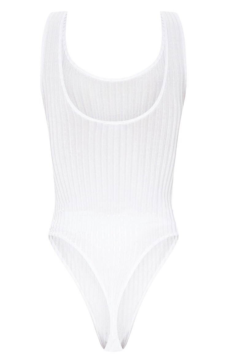 Cream Rib Scoop Back Thong Bodysuit 4