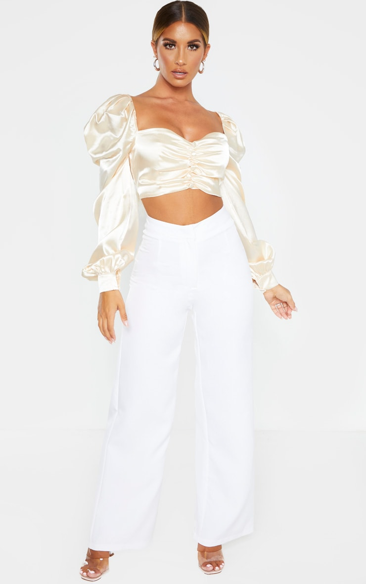 Nude Satin Button Front Square Neck Crop Top 4