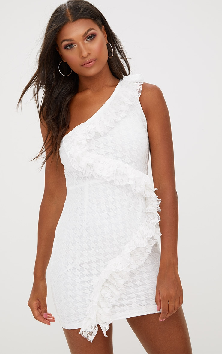 White Lace One Shoulder Bodycon Dresss 1