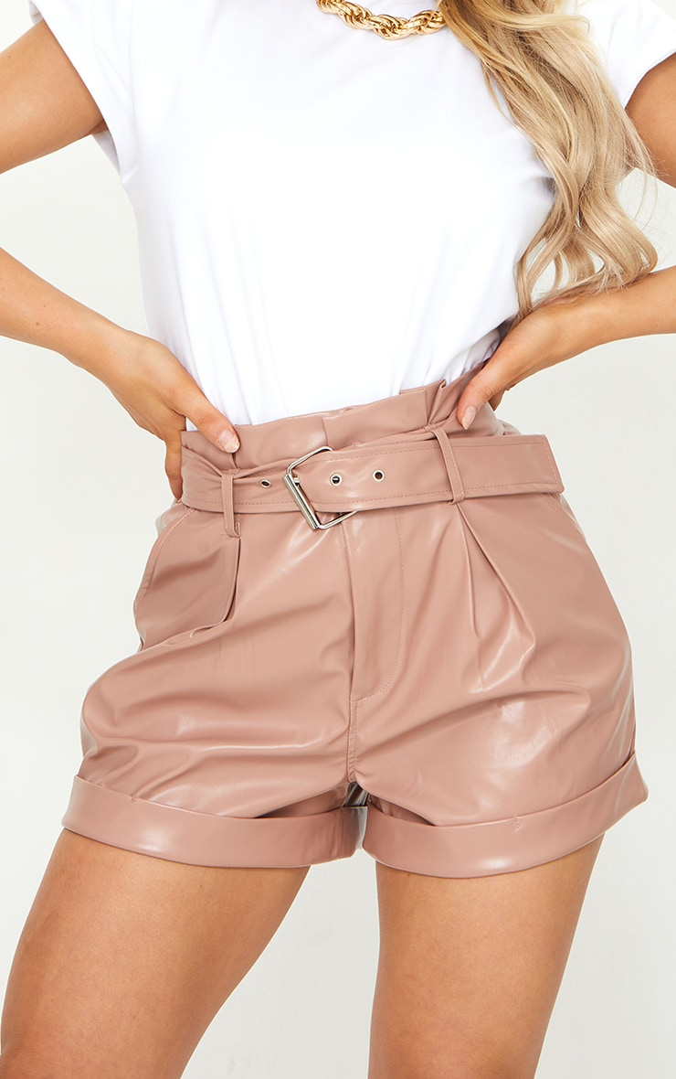 Dusty Pink Belted Faux Leather Turn Up Hem Shorts 5