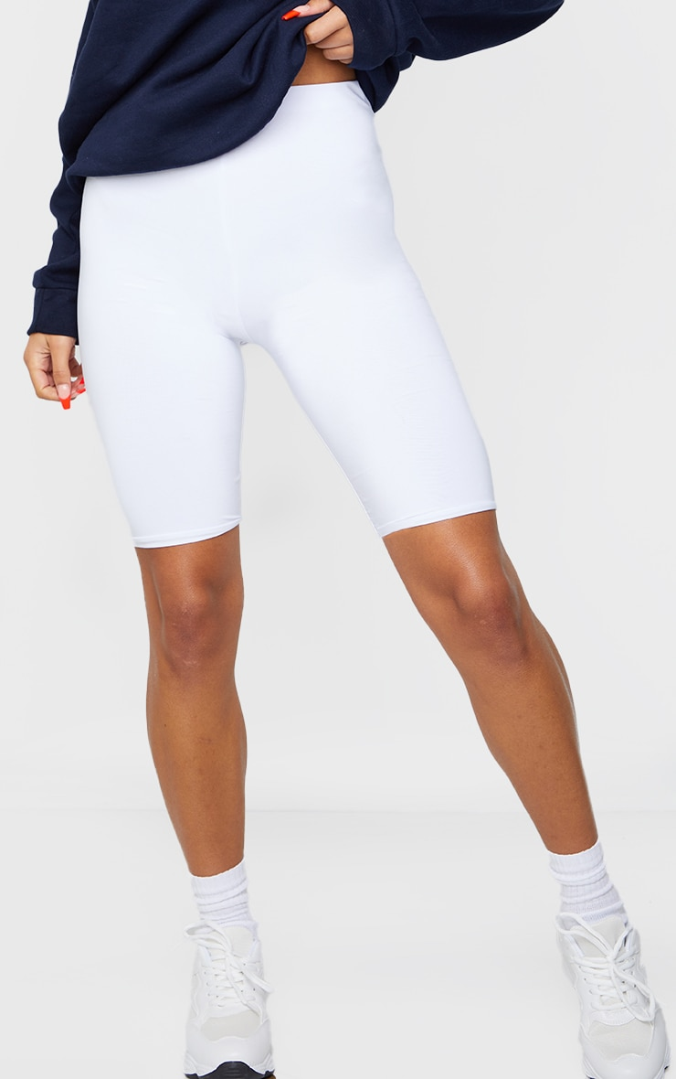 White Slinky Longline Bike Short  2