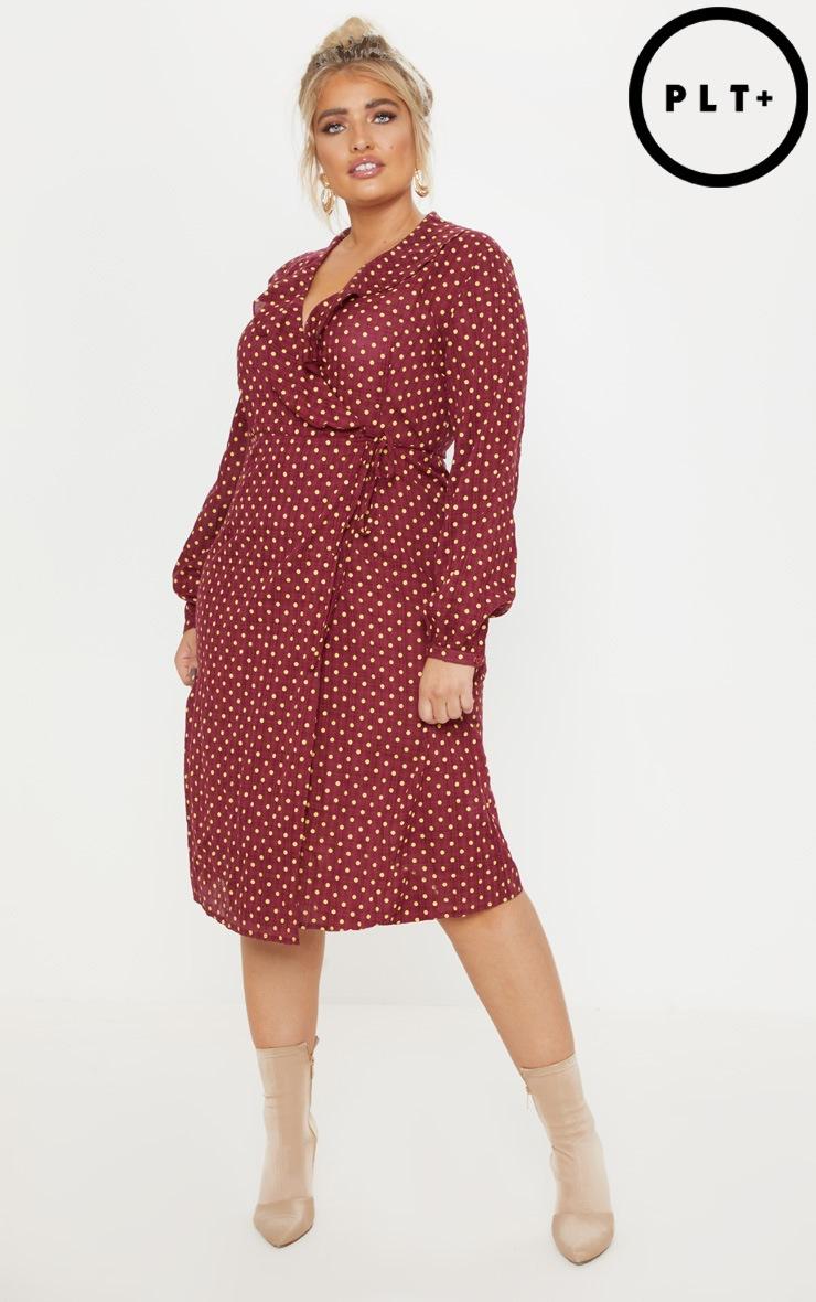 Plus Burgundy Polka Dot Check Wrap Midi Dress