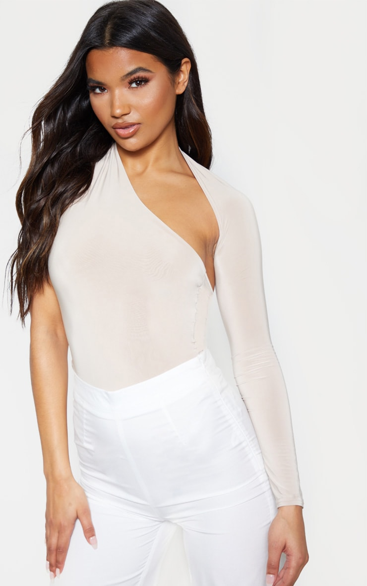 Nude One Shoulder Asymmetric Bodysuit 1