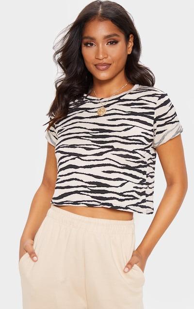 Basic Nude Zebra Roll Sleeve Crop T Shirt