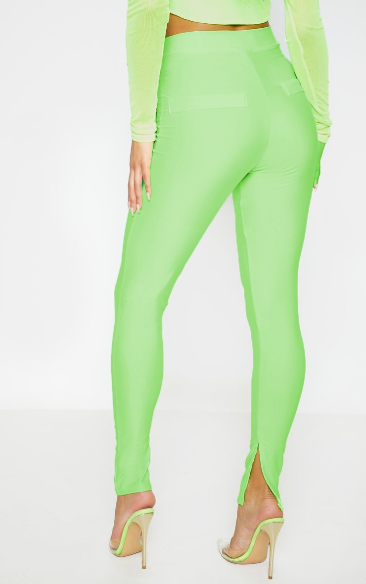 Neon Green Disco Split Hem Skinny Pants 4