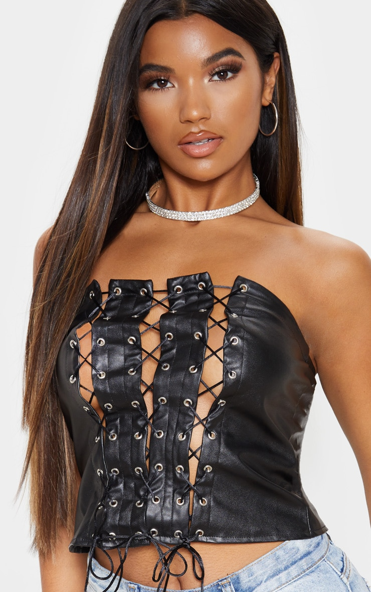 Black Lace Up PU Bandeau 5