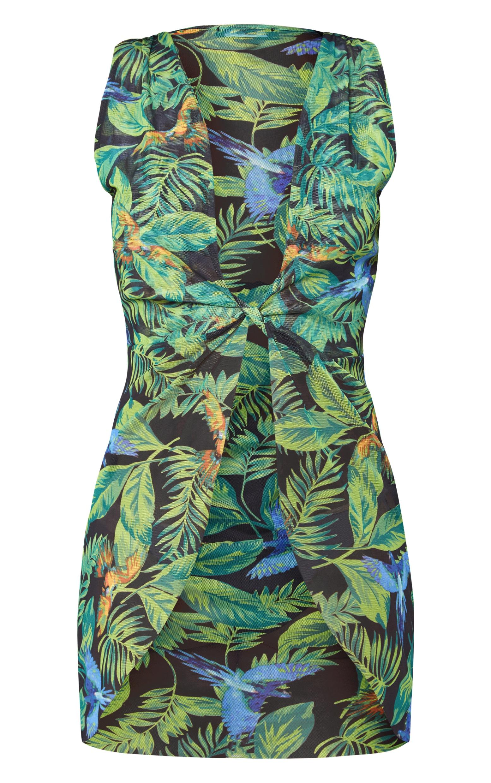 Green Jungle Print Mesh  Beachwear Cover Up 3