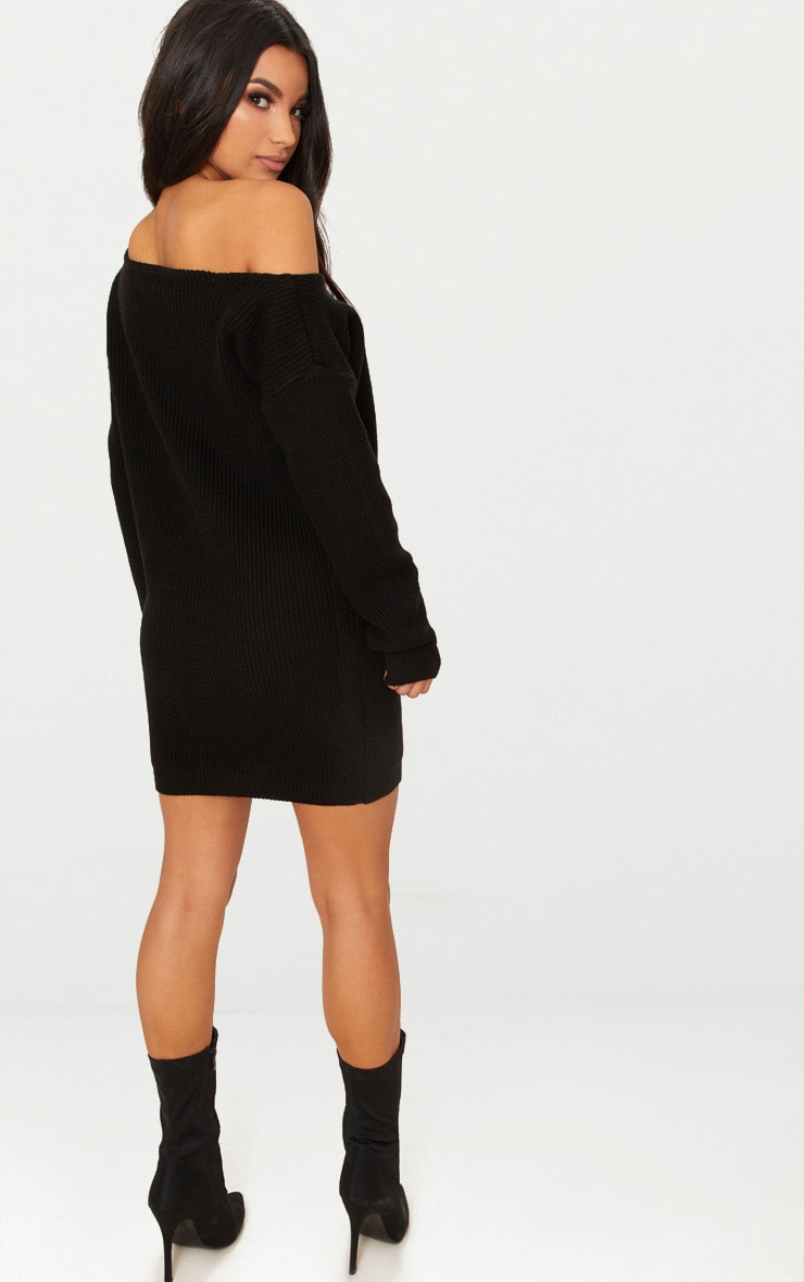 Black Off The Shoulder Knitted Jumper Dress 2