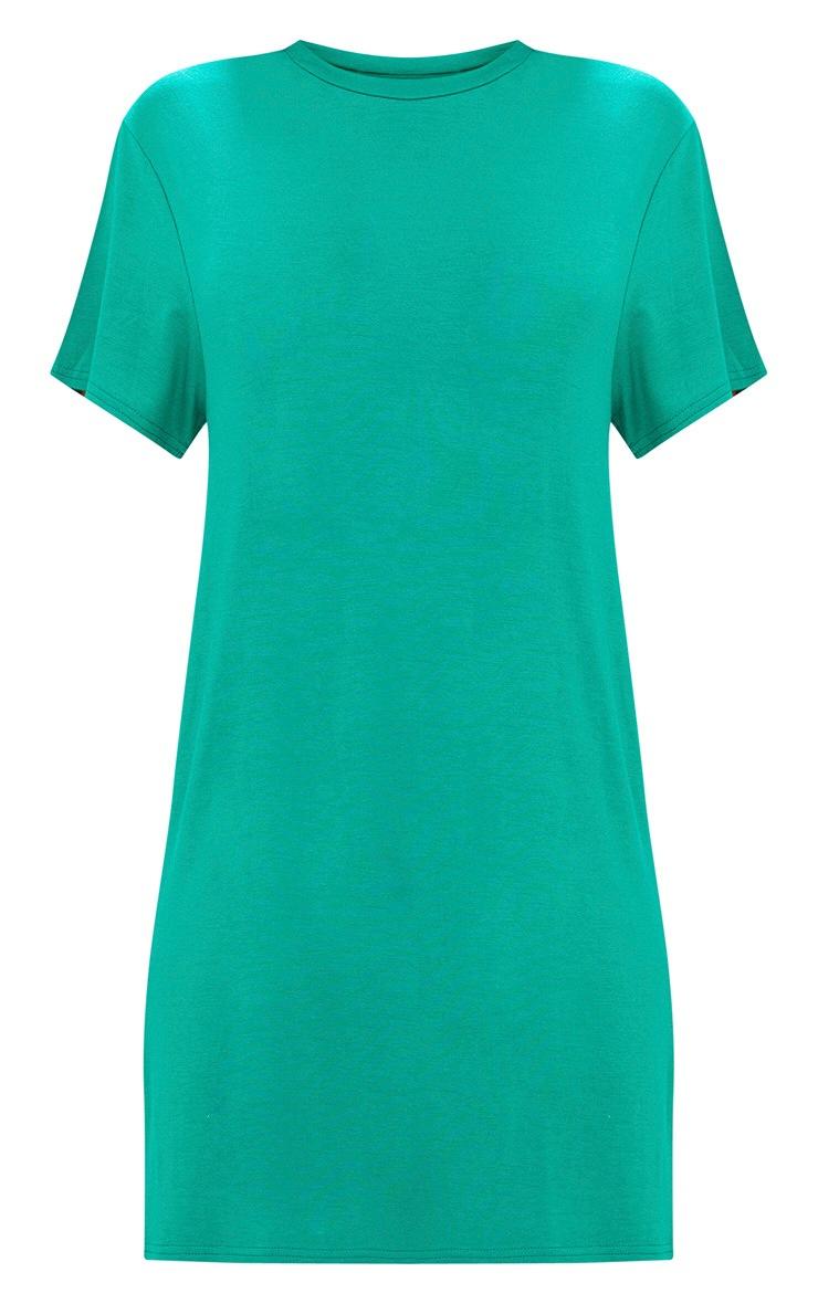 Basic Jade Green Short Sleeve T-Shirt Dress 3