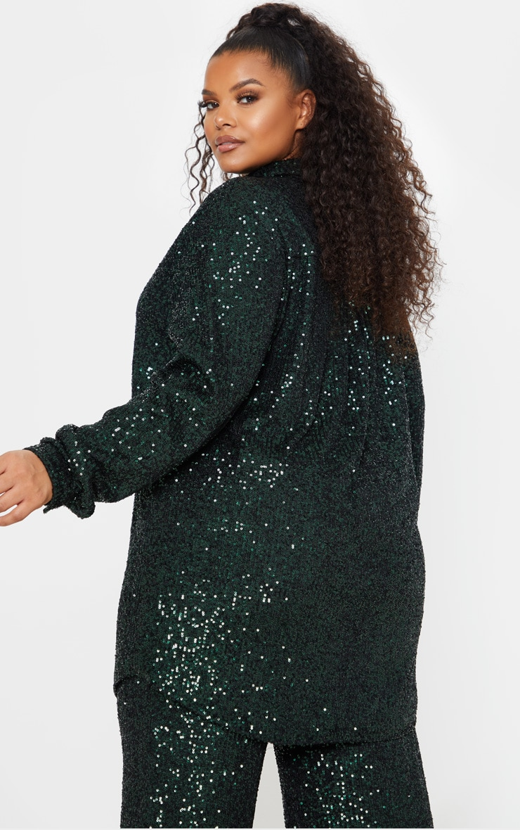 Plus Emerald Green Sequin Oversized Shirt 2