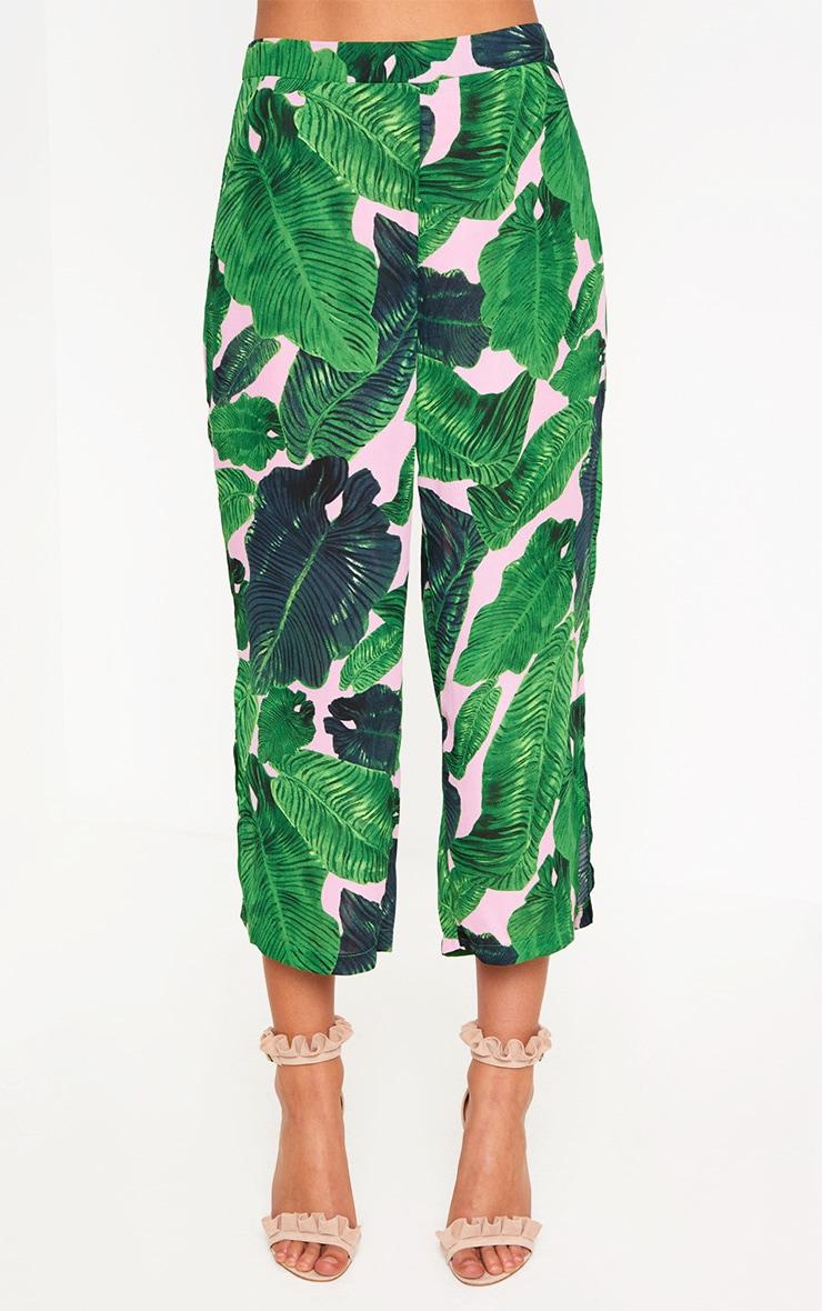 Pink Palm Print Side Split Culottes  2