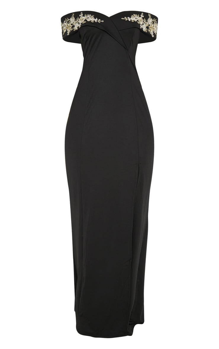 Black Applique Detail Bardot Maxi Dress 3