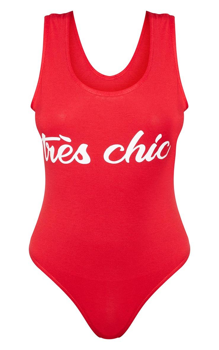 Red Tres Chic Slogan Jersey Scoop Neck Bodysuit 3