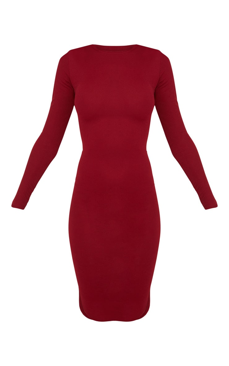 Burgundy Long Sleeve Curved Hem Midi Dress 3