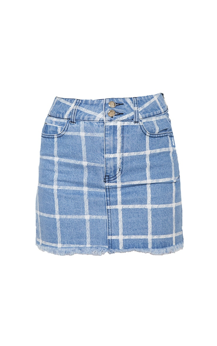 Mid Blue Wash Check Denim Skirt 4