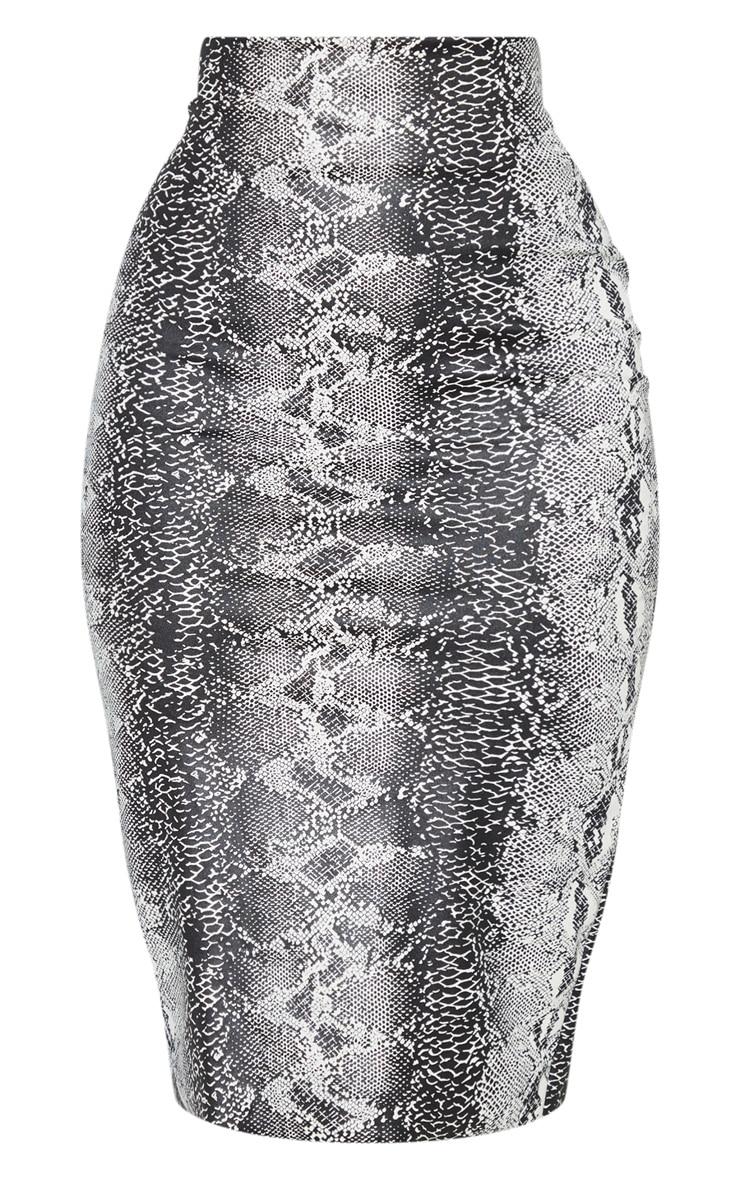 Jupe mi-longue grise à imprimé serpent en similicuir  3