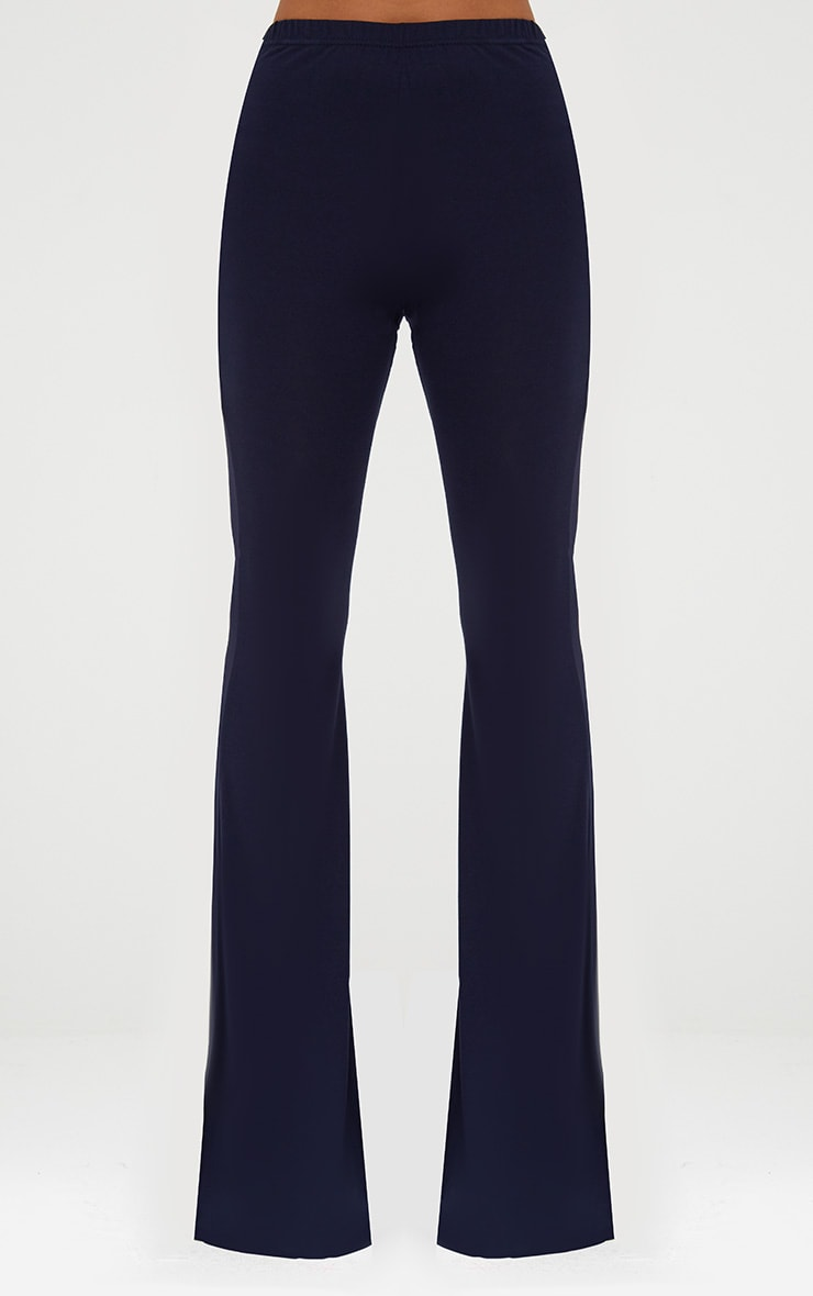 Navy Basic Jersey Flared Trousers 2