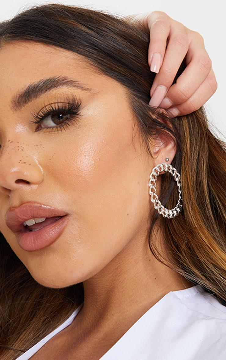 Silver Round Chain Double Hoop Earrings 1