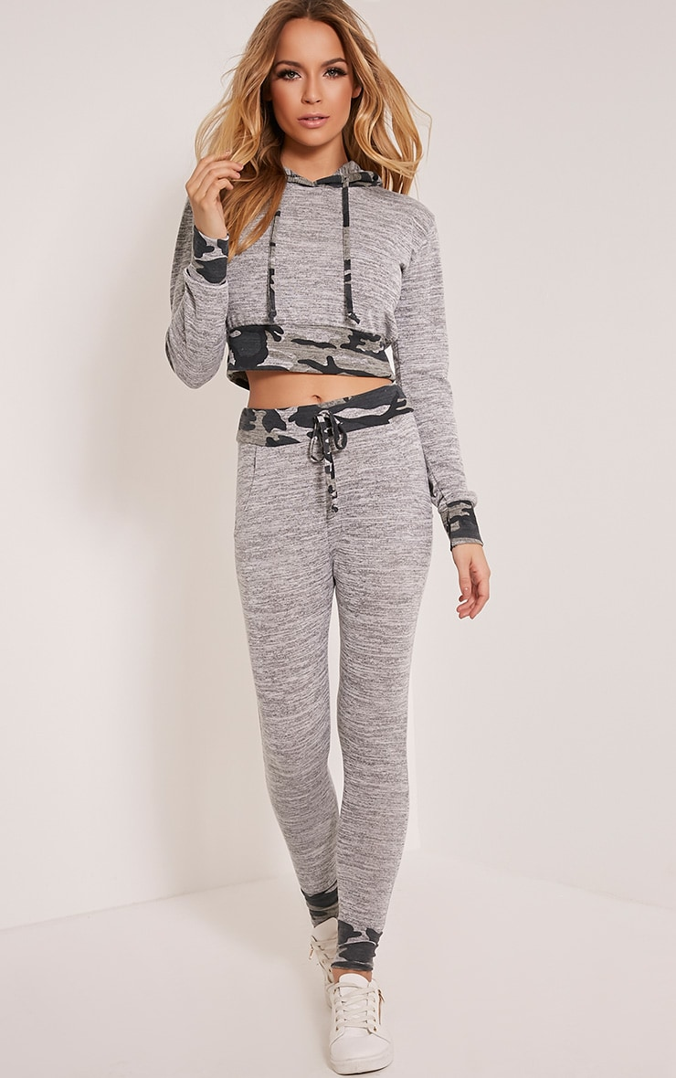 Saniya Grey Camouflage Tracksuit Bottoms 1