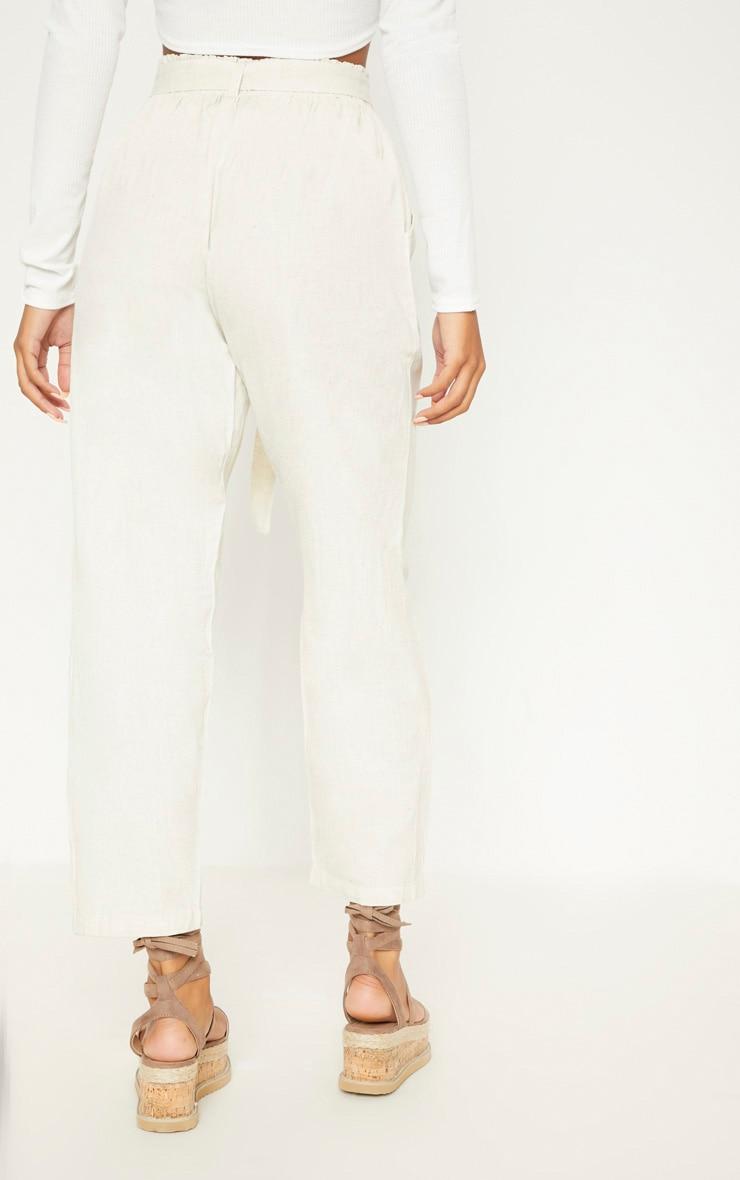 Stone Paperbag Linen Feel Tie Waist Detail Trouser 4
