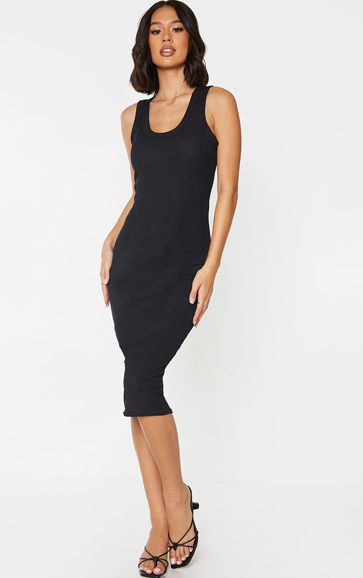 Black Rib Scoop Neck Sleeveless Midi Dress 1