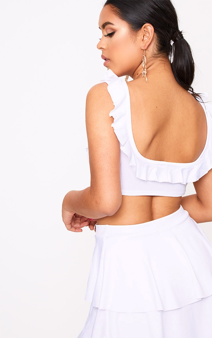 White Frill Low Scoop Crop Top 2