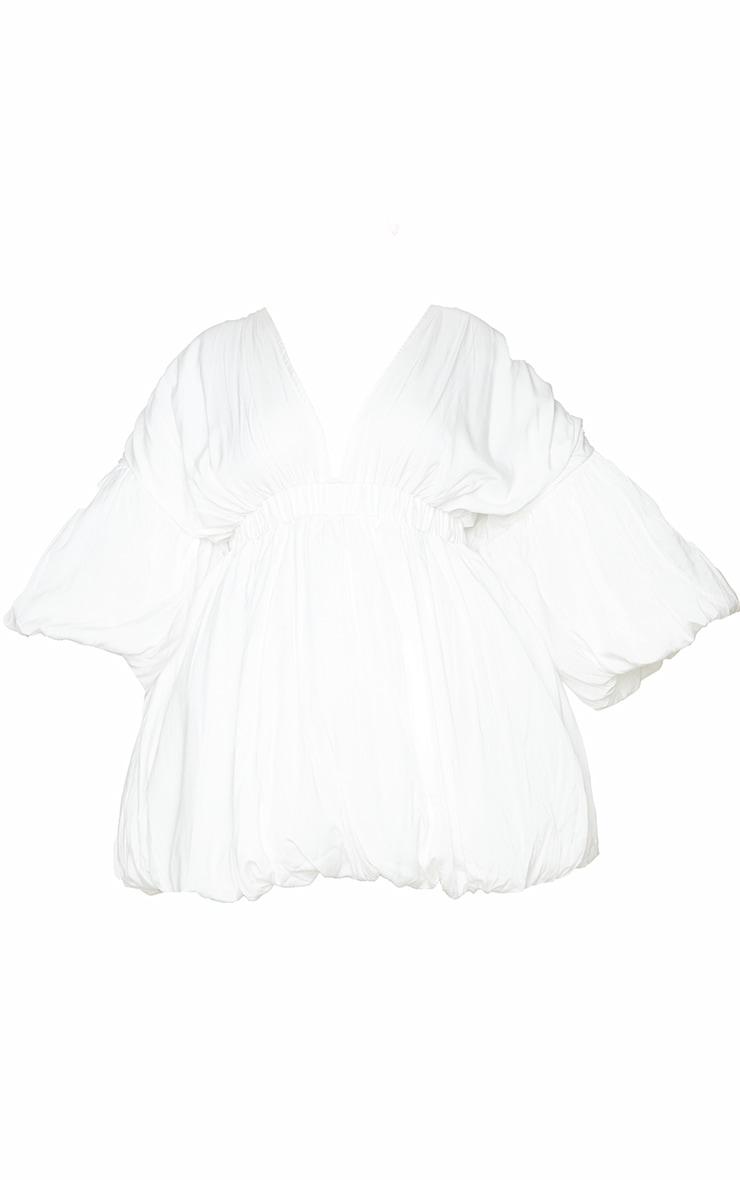 Plus White Puff Sleeve Puffball Hem Shift Dress 5