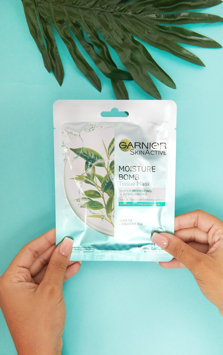 Garnier Moisture Bomb Hydrating Green Tea Face Sheet Mask Combination Skin image 1